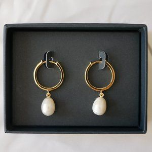 J. CREW Demi-Fine: Golden Pearl Hoop Earrings